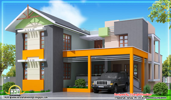 Modern 4 bedroom Kerala home design - 2000 Sq. Ft. - May 2012