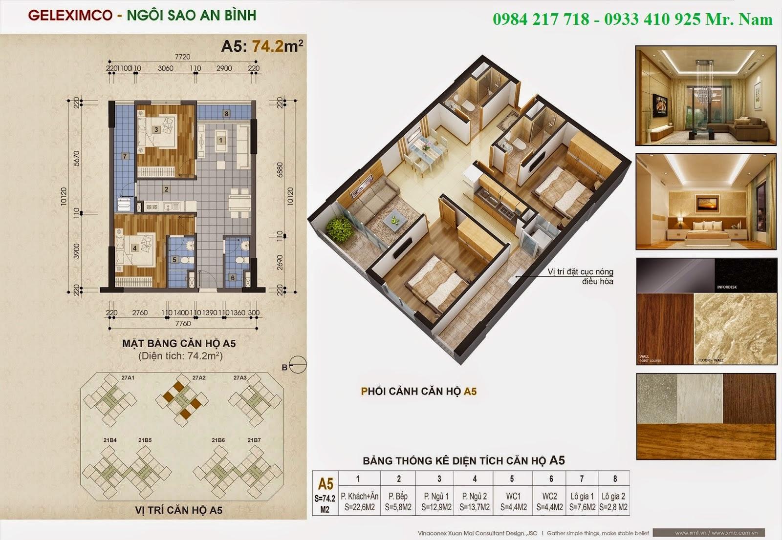 Thiết kế căn hộ A5 diện tích 74.2 m2 chung cư Green Stars