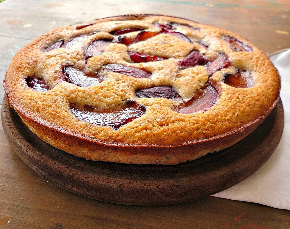 wine poached plum almond cake: bonheur cuisine
