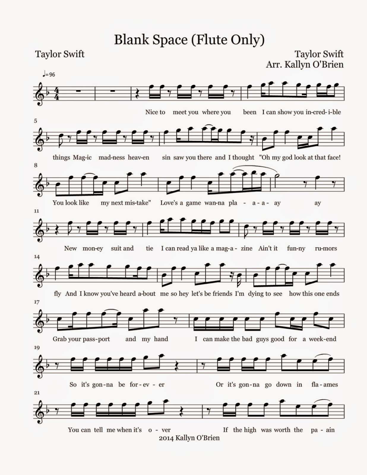 Flute Sheet Music: Blank Space - Sheet Music