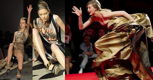 10 Foto Memalukan Saat Model Jatuh di Catwalk