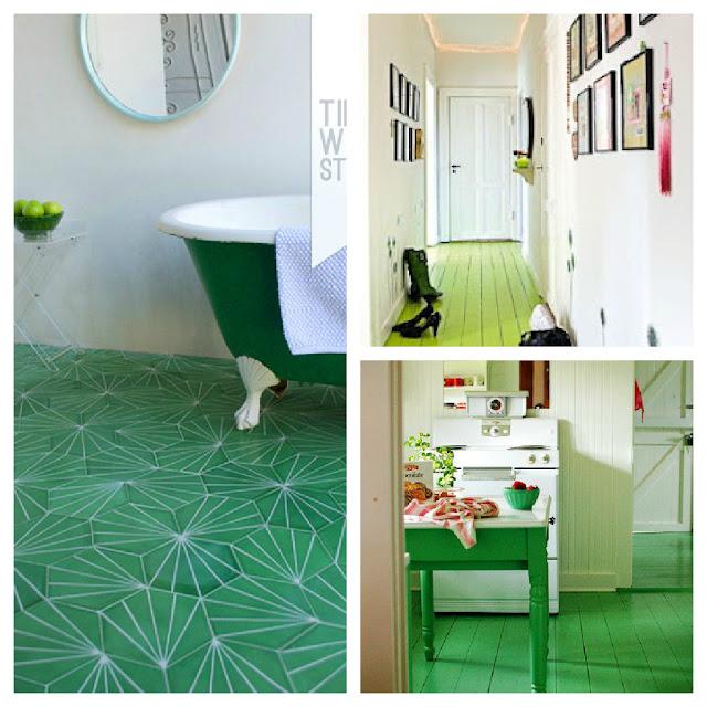 decoración suelos de colores suelo verde