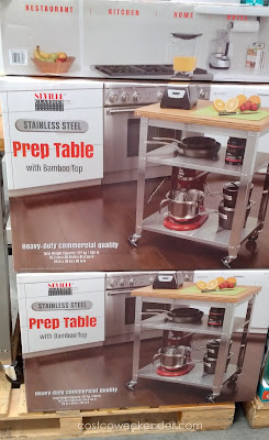 Have a place to do prep work in the kitchen with the Seville Classics Stainless Steel Prep Table with Bamboo Top
