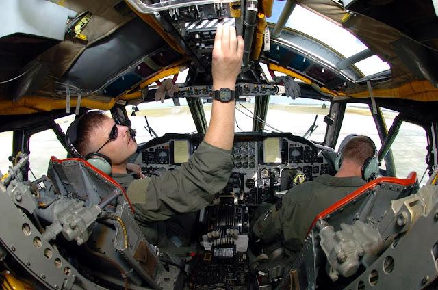 Preflight check in a B-52 Stratofortress cockpit view.