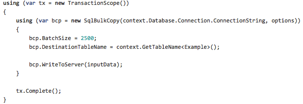 Using System.Data.SqlClient.SqlBulkCopy