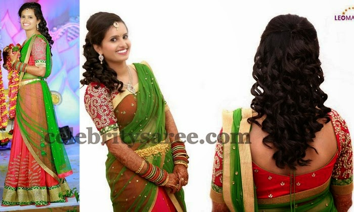Smiling Beauty in Stunning Half Saree