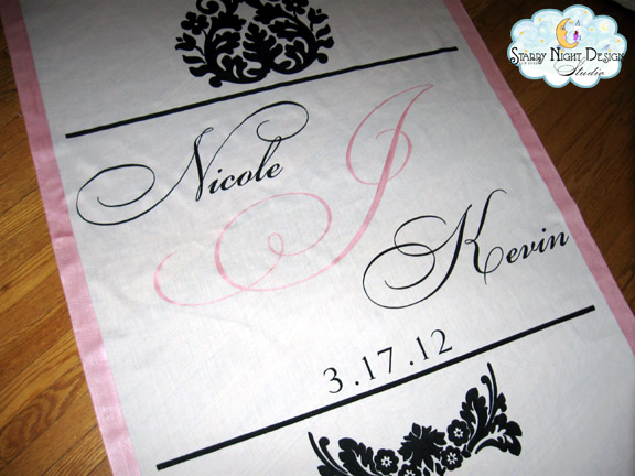 Mother of bride orders hand painted runner for the wedding