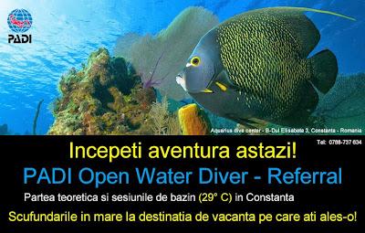 Aquarius dive center Constanta Romania PADI open water diver Referral course cursuri curs scafandri scufundari bazin Bucuresti