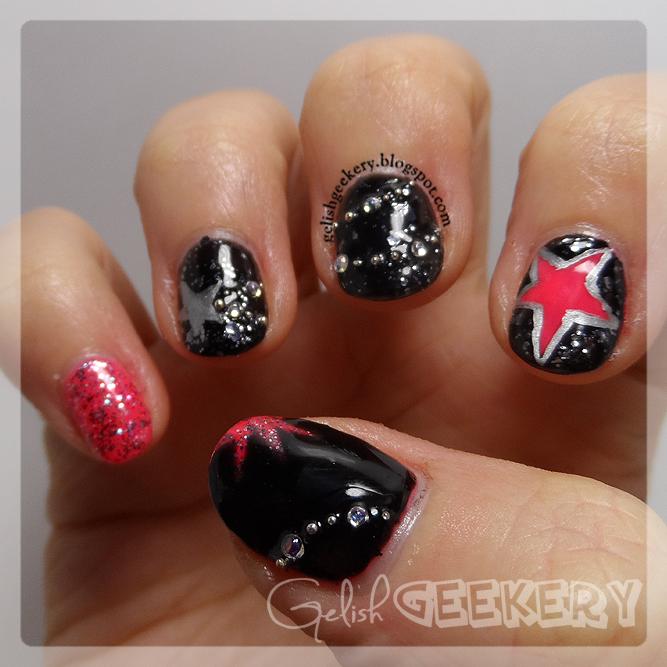 Gelish Pink Punk Stars and Glitter Nails
