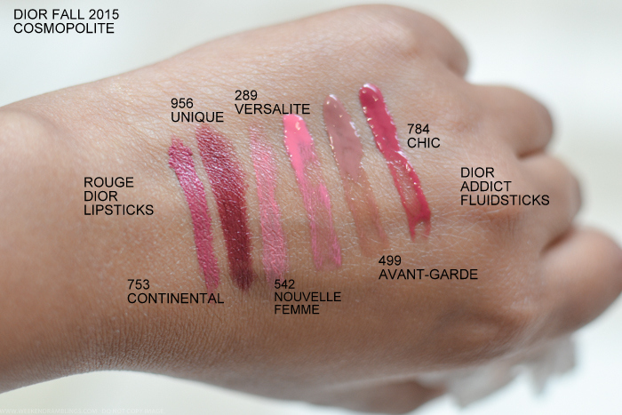 Dior Cosmopolite Autumn Fall 2015 Makeup Collection Swatches Rouge Lipsticks 753 Continental 956 Unique 542 Nouvelle Femme Addict Fluid Sticks 289 Versalite 499 Avant-Garde 784 Chic