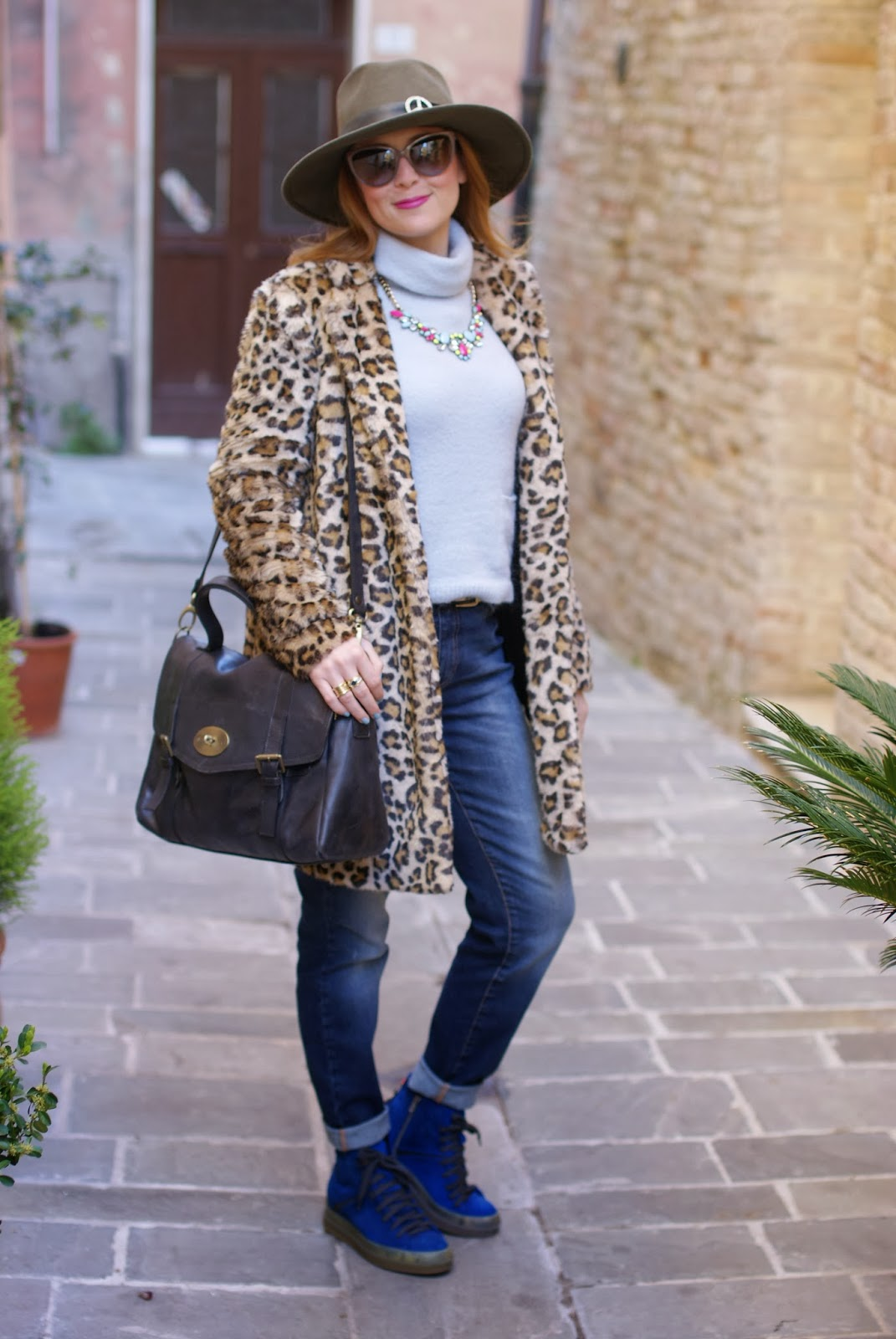 leopard faux fur coat, Ruco Line sneakers, satchel bag, Fashion and Cookies, fashion blogger
