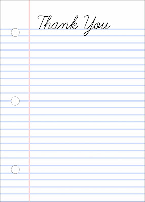 living with ThreeMoonBabies | free printable: Notebook Paper Thank You Notes