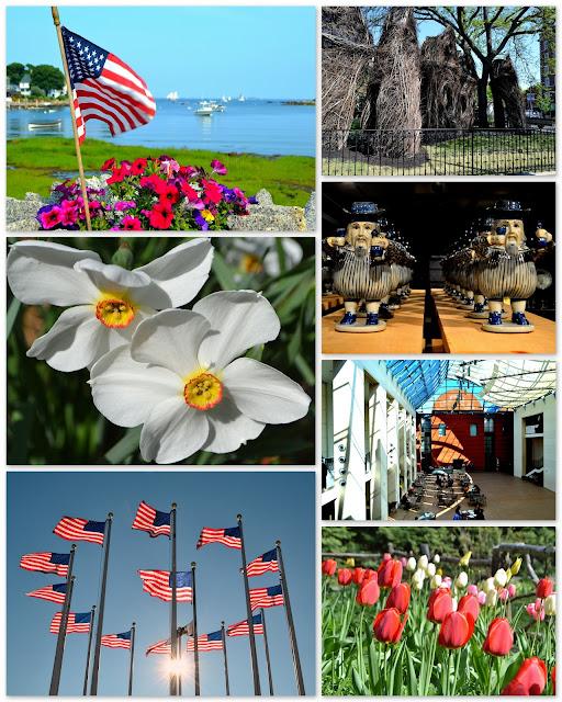 Spring, Summer, Salem, Beverly, Massachusetts, fence, stickworks, flag, harbor, flowers, museum