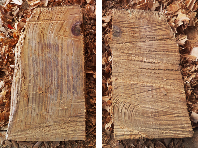 Front and back with rough chainsaw surface.