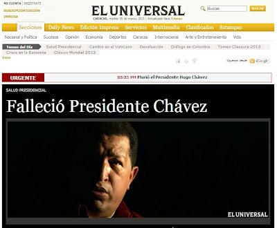 Portada de la edición digital del venezolano El Universal