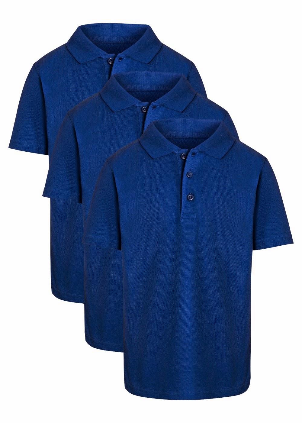 George   Girls Short Sleeve Polo Shirts 4 Pack  2 Royal Blue  2