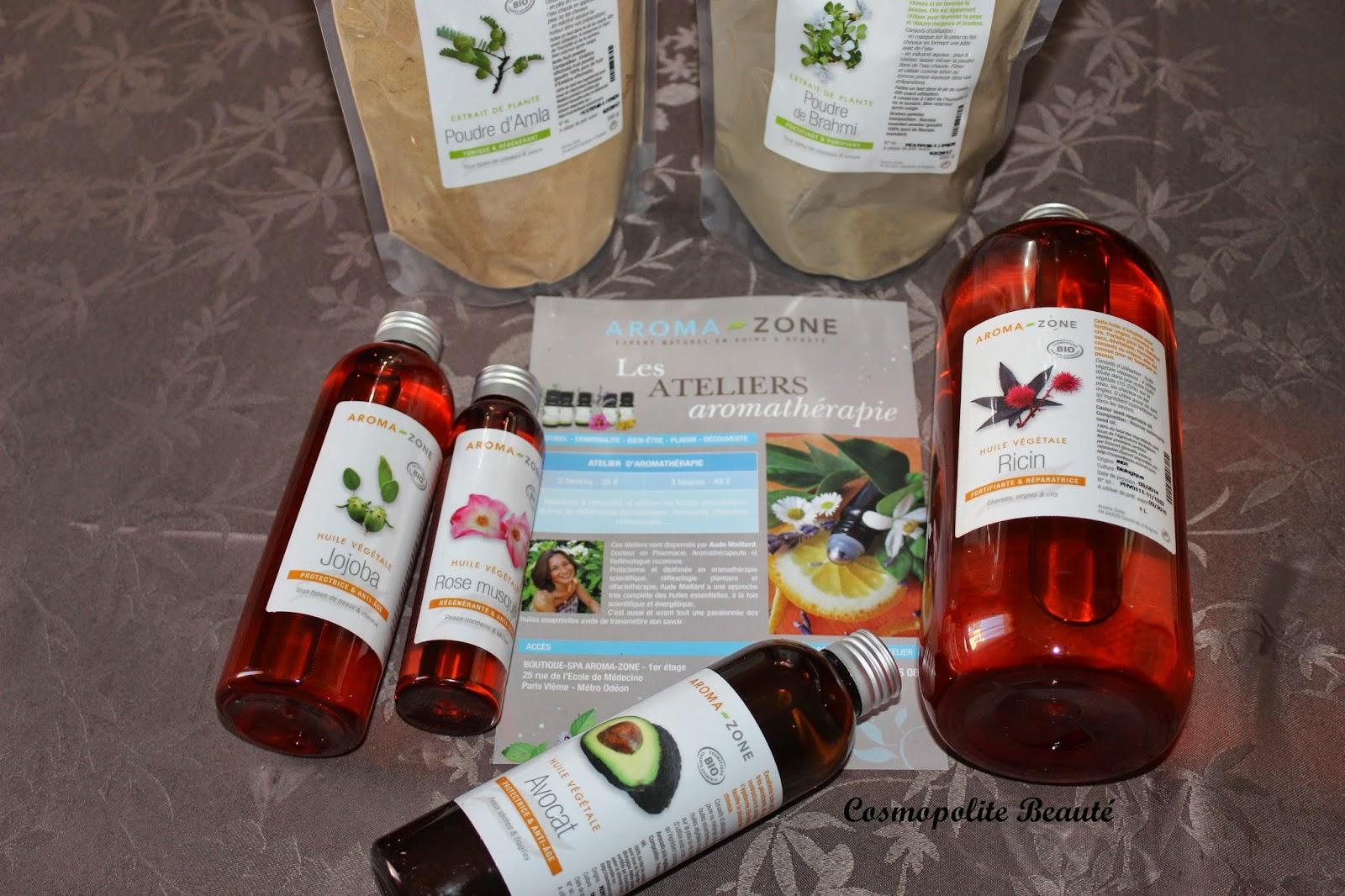 huiles végétales, jojoba, ricin, avocat, rose musquée, aroma-zone
