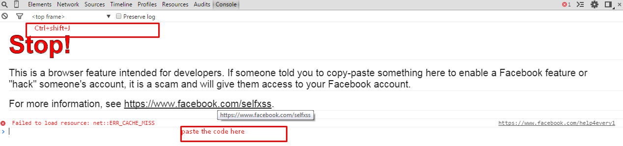 Console Box in Facebook And in Console Box Paste