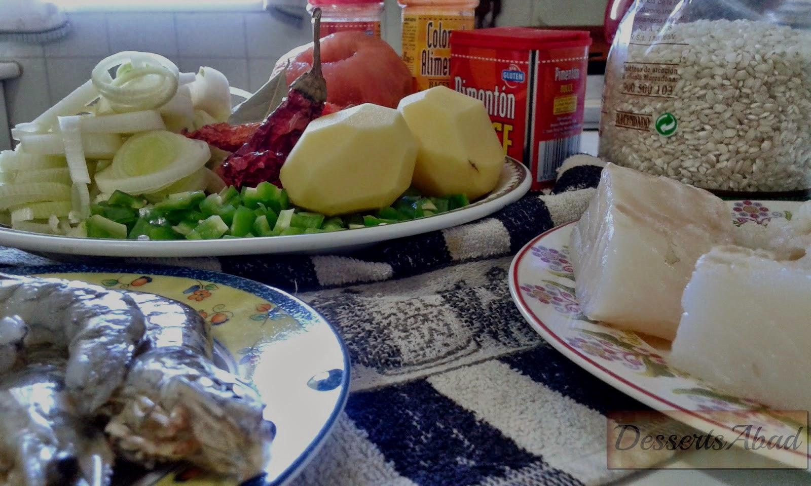 Arroz con bacalao y langostinos (Ingredientes)