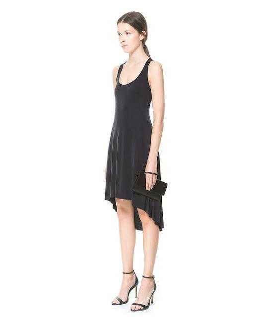 önü kısa arkası uzun yuvarlak yaka elbise siyah renk