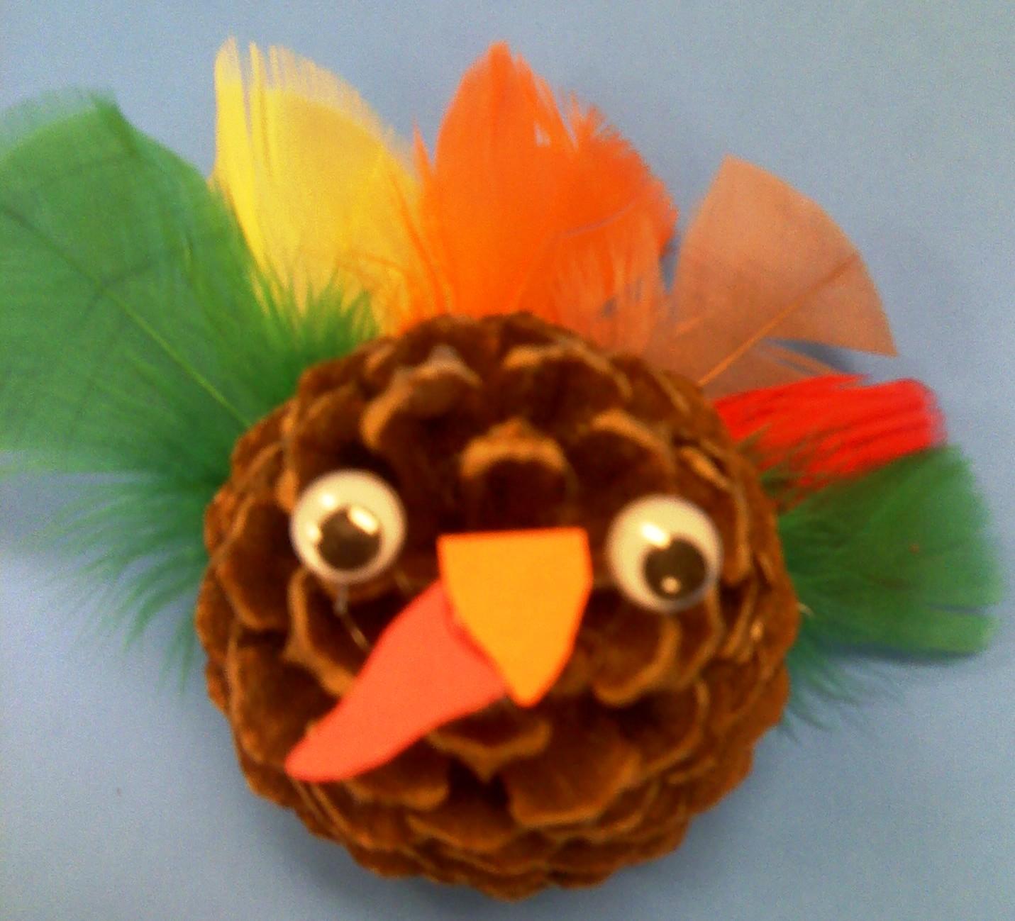 Preschool crafts for kids thanksgiving pine coneturkey craft for Pre k turkey crafts