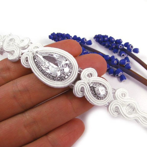 Bransoletka ślubna sutasz z kryształami Novia Blanca