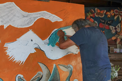 Victor Delfin at Work in His Studio
