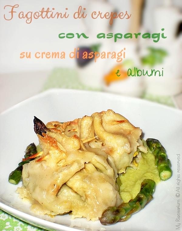Fagottini di crepes con asparagi su crema di asparagi e albumi
