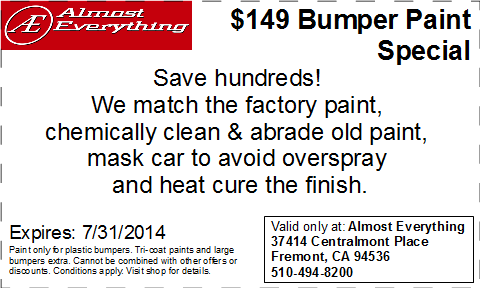 Discount Coupon Almost Everything $149 Bumper Paint Sale July 2014