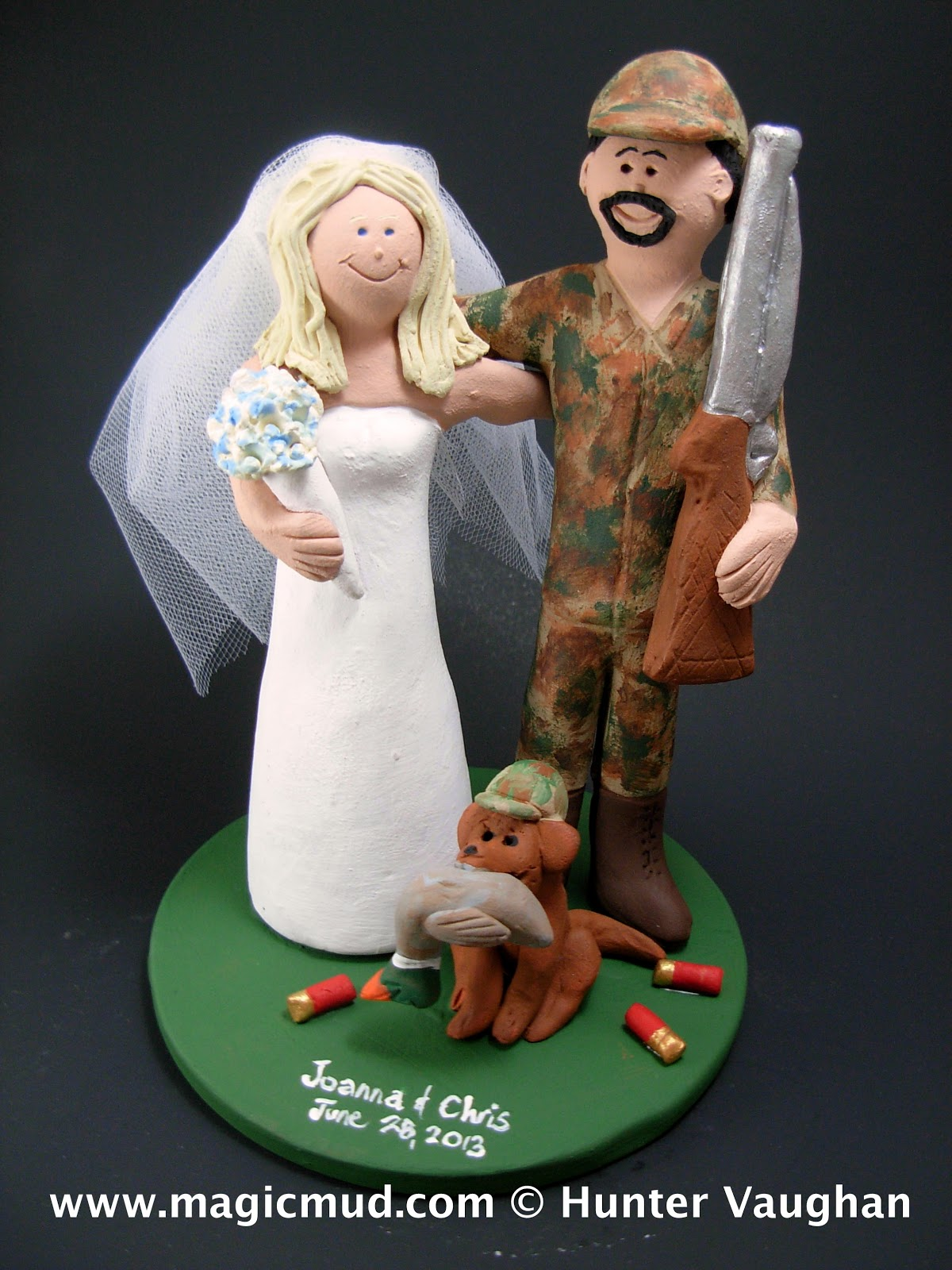 Groom in Camouflage Wedding Cake Topper