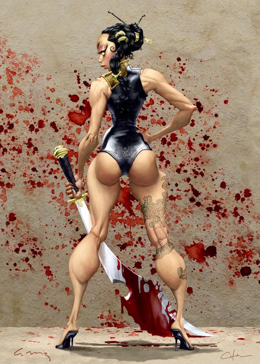 illustration de Bobby Chiu représentant une guerrière une longue épée à la main