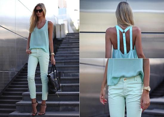 calça e blusa verde menta