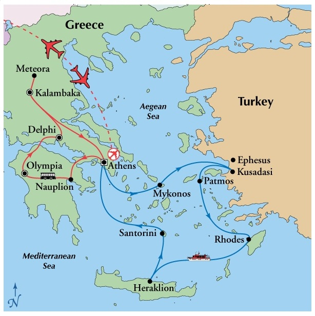 Chris Trosts Travel Blog Chris Trosts Greece Adventure - Map of the distance between athens sparta and the us