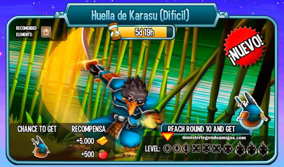 imagen de las batallas de la mazmorra huella de karasu de monster legends