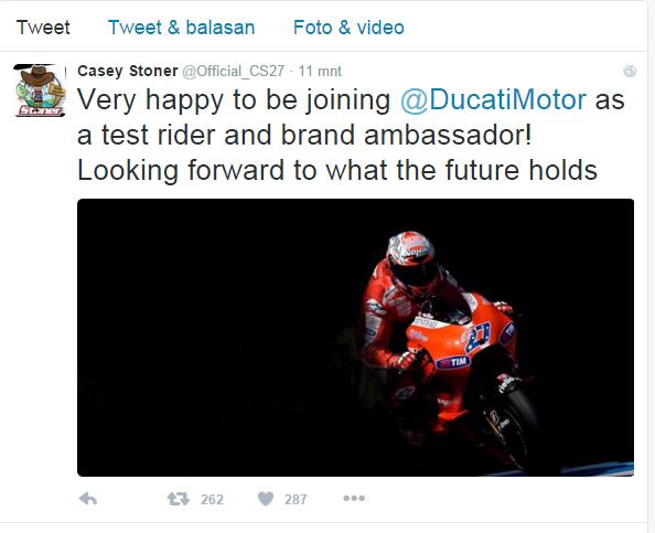 Casey Stoner Senang Kembali Ke Ducati