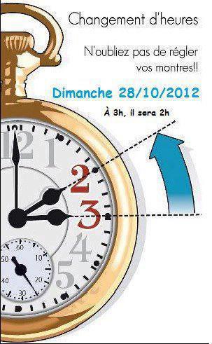 dimanche 28 Octobre,changement d'heure 2012