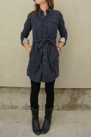 Pretty polka dot flannel shirt dress