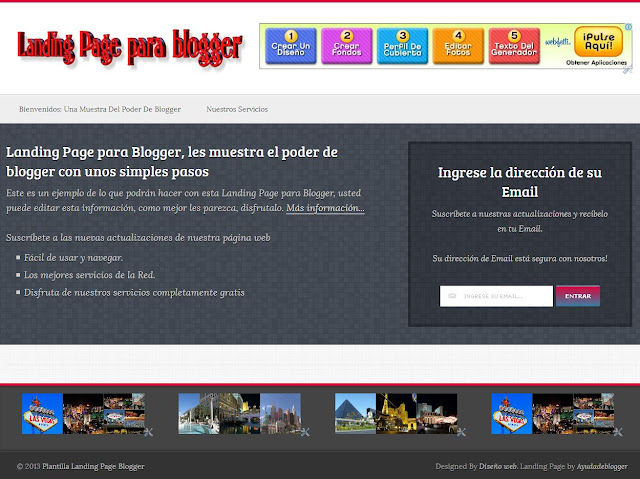 Plantilla Landing page para blogger