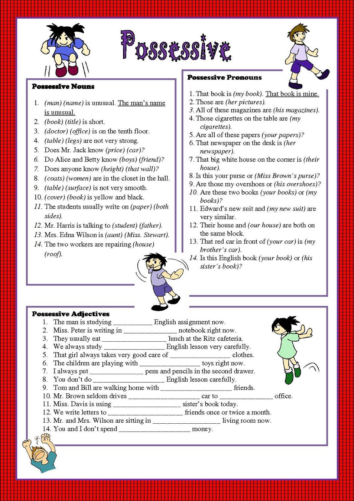 Possessive pronouns worksheet printable