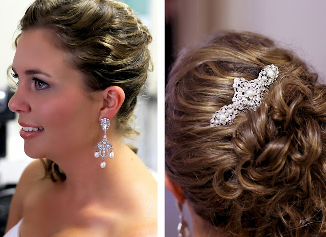 Wedding Hair Comb, pearl wedding earrings