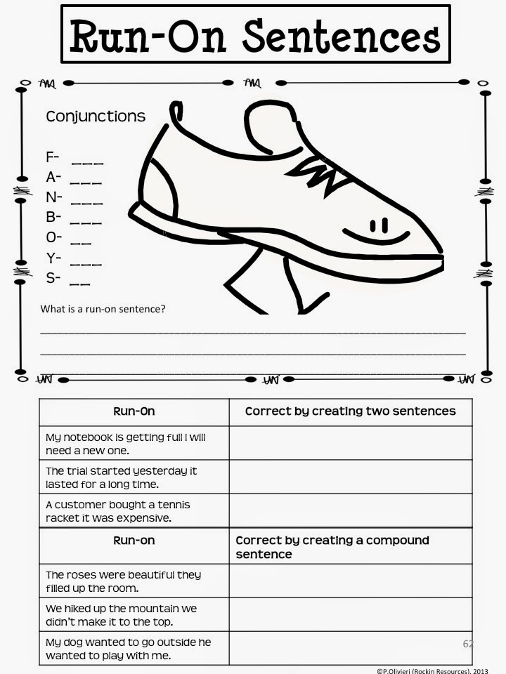 rockin resources writing mini lesson 4 run on sentences. Black Bedroom Furniture Sets. Home Design Ideas