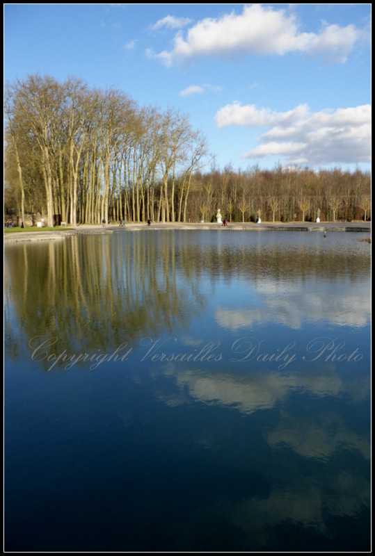 Trees reflected Apollo's chariot fountain Versailles