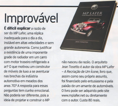 Esta nota foi publicada na página 20 de Quatro Rodas, em sua edição de janeiro de 2013, comentando o livro do MP Lafer.  Clique na  imagem para ampliar.
