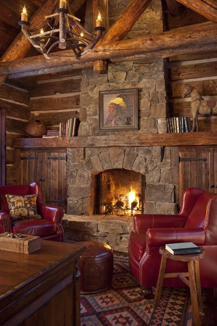 Rustic cabin with fireplace content in a cottage for Log cabin fireplace designs