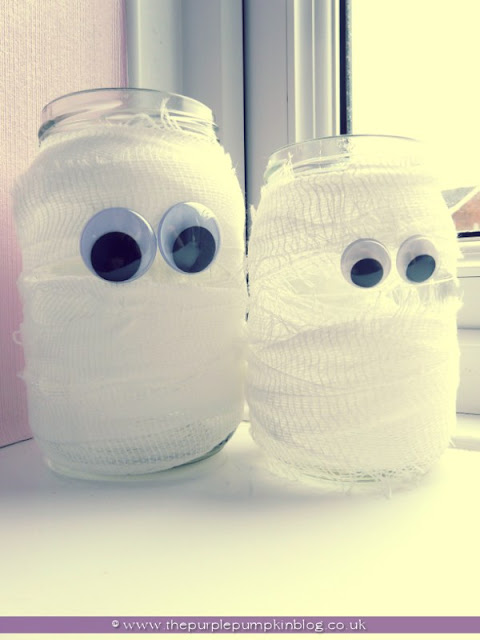 ~Mummy Candle Jars {Crafty October} at The Purple Pumpkin Blog