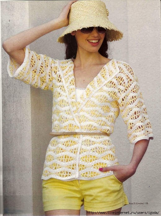 Chaqueta liviana dama crochet