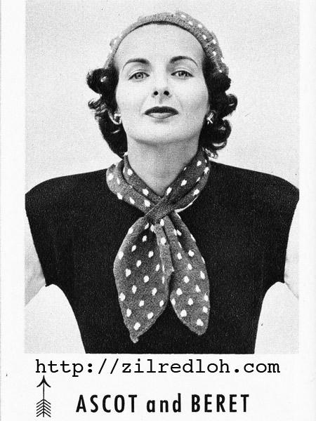 The Vintage Pattern Files 1950s Knitting Polka Dot Ascot Beret