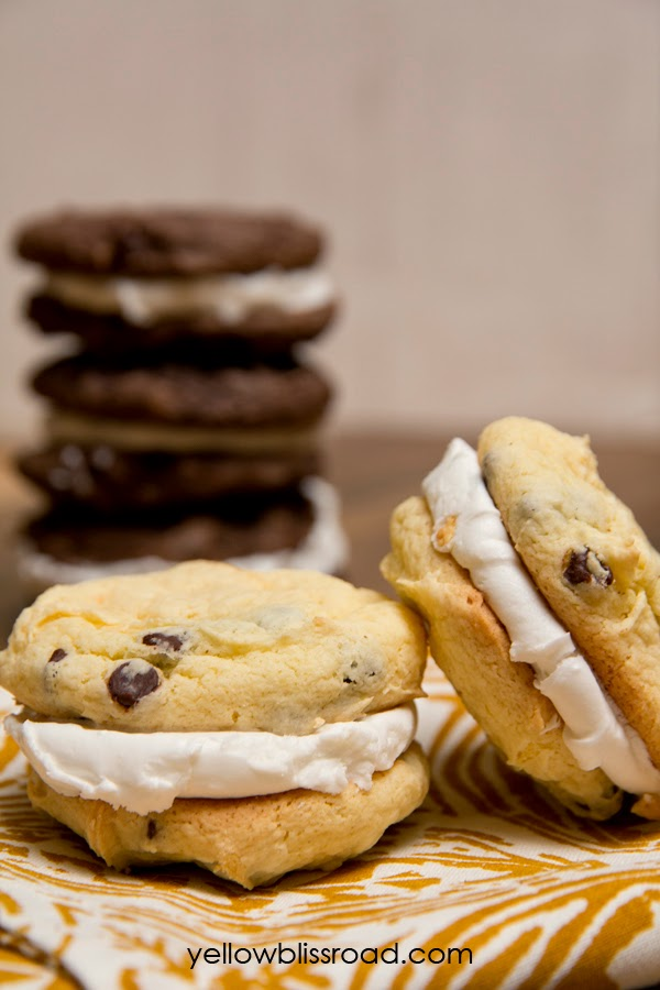 Cake Mix Cookie Sandwiches - a neater and easier to eat alternative to cupcakes - I'm making this for our next party!