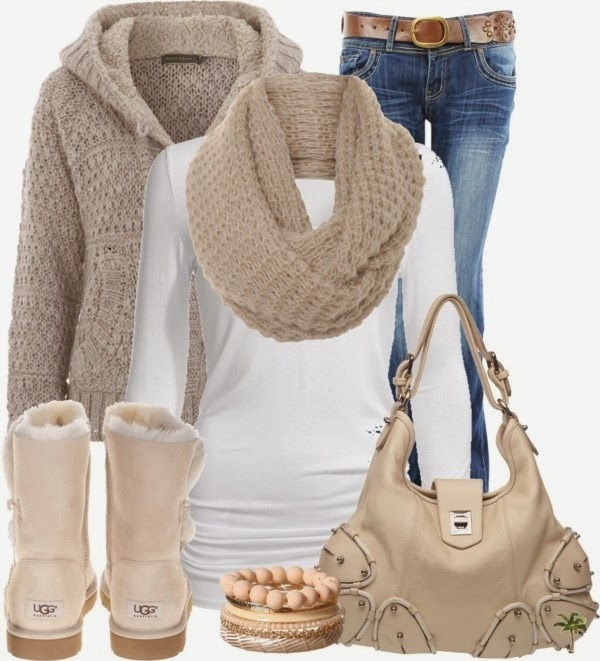 Fashionable, Beige Sweater with Jeans, Beige Circle Scarf, Ugg Boots and Handbag and White  Sleeve Shirt with Bracelets