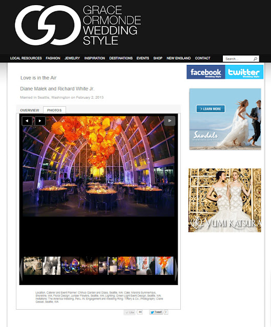 Grace Ormonde Wedding Style Magazine feature - Chihuly Garden and Glass Wedding Feature